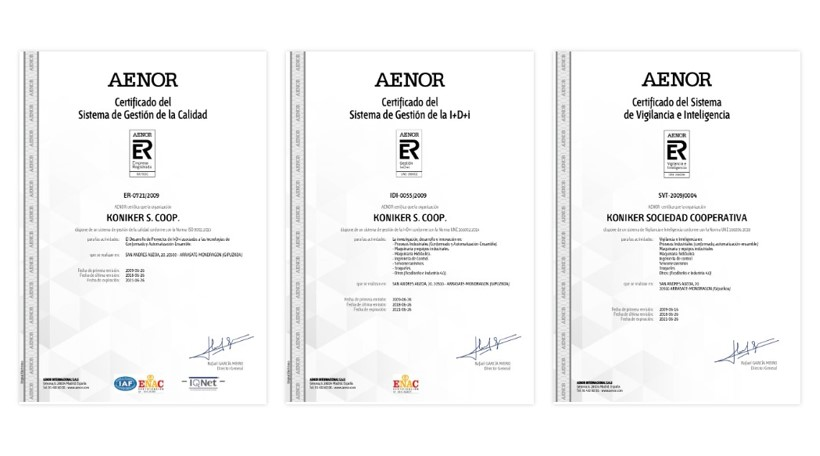 AENOR accredits KONIKER's Integrated Management System
